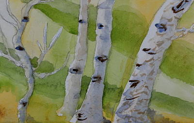 Art Print featuring the painting Aspen Trunks by Beverley Harper Tinsley
