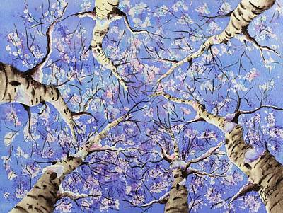 Aerial Perspective Painting - Aspen Winter Wonderland by Corynne Hilbert