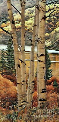Trembling Digital Art - Aspens By The Lake by Scott D Van Osdol