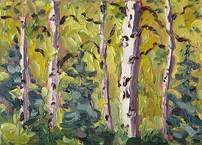 Zanobia Painting - Aspens In Evening Light by Zanobia Shalks