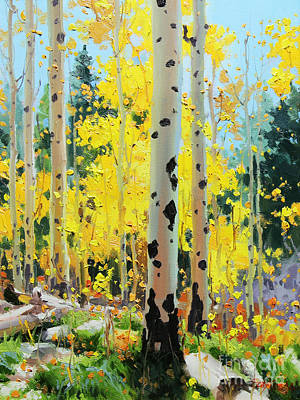 Autumn Scene Painting - Aspens In Golden Light by Gary Kim