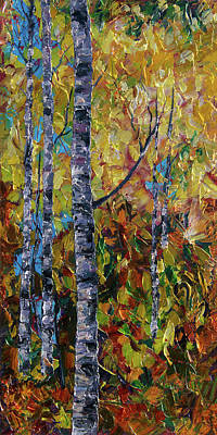 Painting - Aspens - II by OLena Art Brand