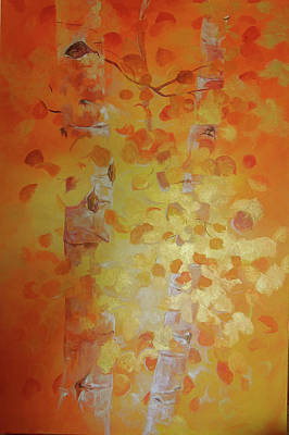 Ft. Collins Painting - Aspens Of Gold by Linda Mikulich