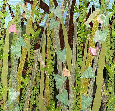 Fabric Mixed Media - Aspiring To Glory Bindweed I by Julia Berkley
