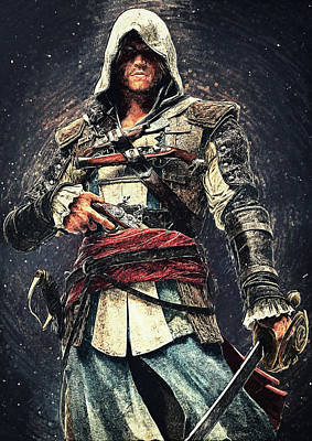 Digital Art - Assassin's Creed - Edward Kenway by Taylan Apukovska