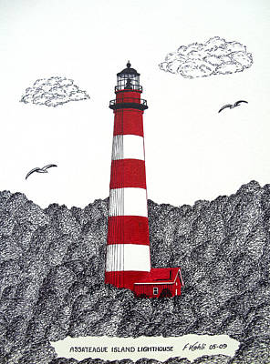 Drawing - Assateague Island Lighthouse Drawing by Frederic Kohli