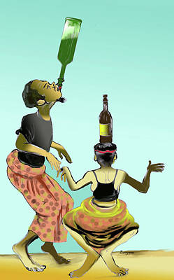 Painting - Assiko Dance Cameroon 01 by Emmanuel Baliyanga