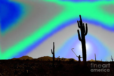 Digital Art - Assimilation Of Saguaro And Desert by Wernher Krutein
