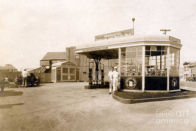 Photograph - Associated Gas Station, Circa 1930 by California Views Archives Mr Pat Hathaway Archives