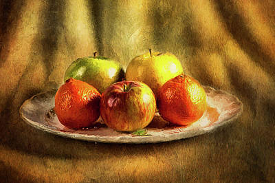 Assorted Fruits In A Plate Art Print