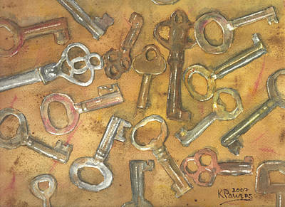 Assorted Skeleton Keys Art Print by Ken Powers