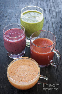 Summer Photograph - Assorted Smoothies by Elena Elisseeva