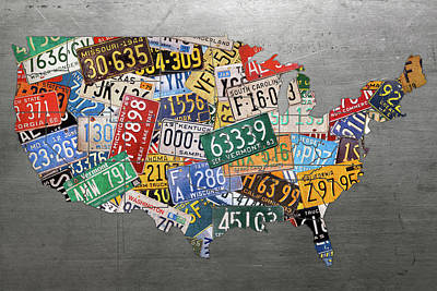Assorted Vintage Colorful License Plates Of The Usa Map On Steel Art Print
