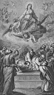 Curated Beach Towels - Assumption of Mary, historic steel engraving from a bible 1860 by Heinz Tschanz-Hofmann