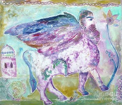 Minotaur Mixed Media - Assyrian Bull Man by Joanna Allen