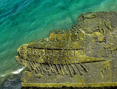 Digital Art - Assyrian Warship by Asok Mukhopadhyay