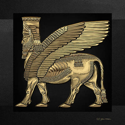 Digital Art - Assyrian Winged Bull - Gold Lamassu Over Black Canvas by Serge Averbukh