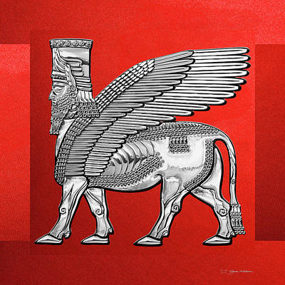 Digital Art - Assyrian Winged Bull - Silver Lamassu Over Red Canvas by Serge Averbukh