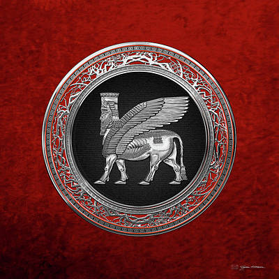 Digital Art - Assyrian Winged Bull - Silver Lamassu Over Red Velvet by Serge Averbukh