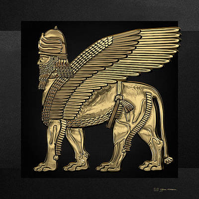 Digital Art - Assyrian Winged Lion - Gold Lamassu Over Black Canvas by Serge Averbukh