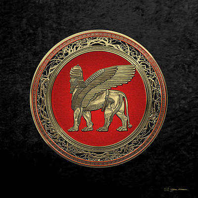 Digital Art - Assyrian Winged Lion - Gold Lamassu Over Black Velvet by Serge Averbukh