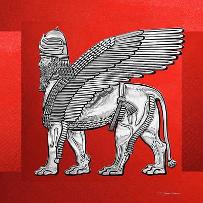Digital Art - Assyrian Winged Lion - Silver Lamassu Over Red Canvas by Serge Averbukh