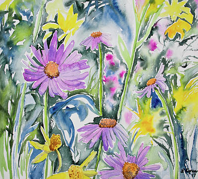 Painting - Aster And Arnica Wildflower Display by Cascade Colors