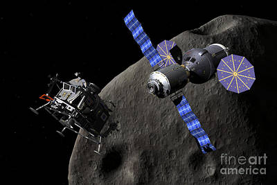 Surrealism Royalty-Free and Rights-Managed Images - Asteroid Lander Departs From Deep Space by Walter Myers
