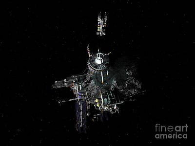 Asteroid Mining Outpost Art Print