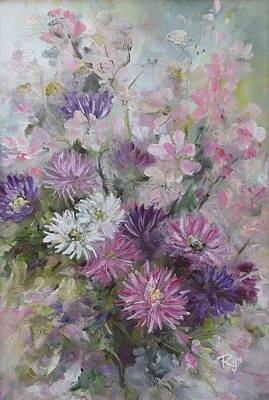 Asters And Stocks Art Print