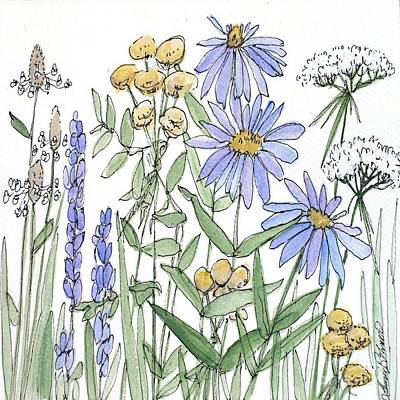 Painting - Asters And Wildflowers by Laurie Rohner