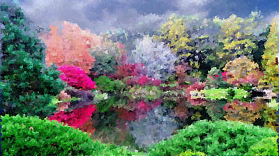 Painting - Asticou Azalea Garden  by Mike Breau