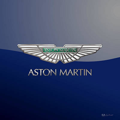 Digital Art - Aston Martin 3 D Badge On Blue 2.0 by Serge Averbukh