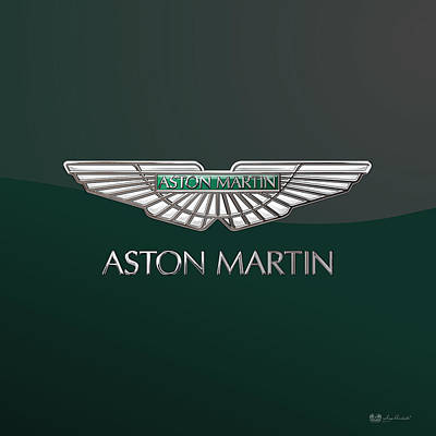 Digital Art - Aston Martin 3 D Badge On Bottle Green 2.0 by Serge Averbukh