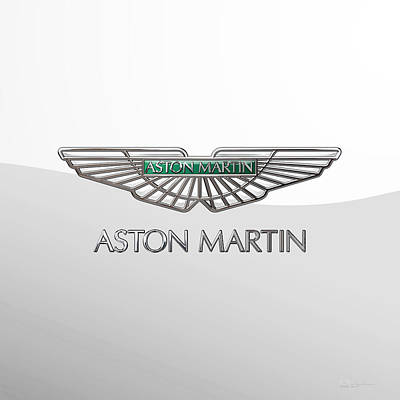 Digital Art - Aston Martin 3 D Badge On White 2.0 by Serge Averbukh