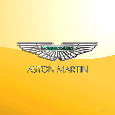 Digital Art - Aston Martin 3 D Badge On Yellow 2.0 by Serge Averbukh