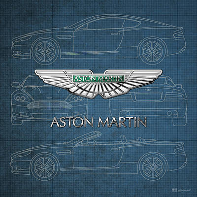 Luxury Cars Wall Art - Photograph - Aston Martin 3 D Badge Over Aston Martin D B 9 Blueprint by Serge Averbukh