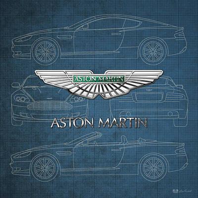 Transportation Photograph - Aston Martin 3 D Badge Over Aston Martin D B 9 Blueprint by Serge Averbukh