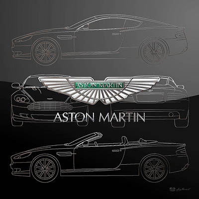 Digital Art - Aston Martin 3 D Badge Over Aston Martin D B 9 Silver Blueprint Special Edition by Serge Averbukh