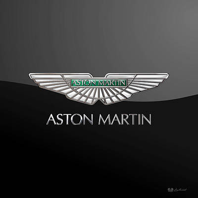 Historical Digital Art - Aston Martin - 3d Badge On Black  by Serge Averbukh
