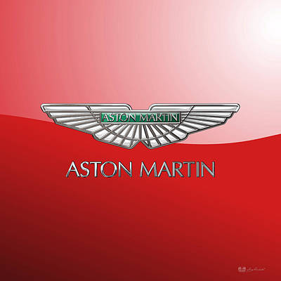Digital Art - Aston Martin - 3d Badge On Red by Serge Averbukh