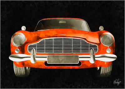 Sean Connery Mixed Media - Aston Martin Anaranjado by Edier C