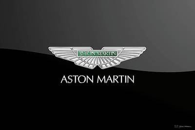 Digital Art - Aston Martin Badge - Luxury Edition On Black by Serge Averbukh