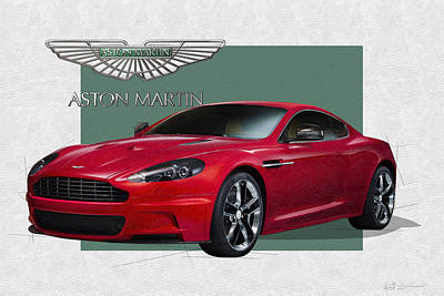 Digital Art - Aston Martin  D B S  V 12  With 3d Badge  by Serge Averbukh