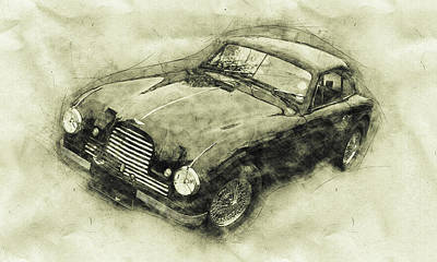 Royalty-Free and Rights-Managed Images - Aston Martin DB2 GT Zagato - 1950 - Automotive Art - Car Posters by Studio Grafiikka