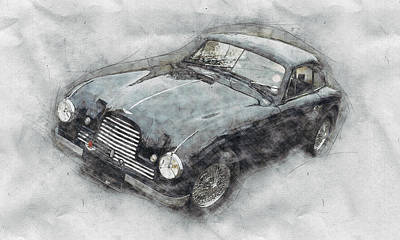 Transportation Mixed Media - Aston Martin DB2 GT Zagato 2 - 1950 - Automotive Art - Car Posters by Studio Grafiikka