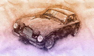 Royalty-Free and Rights-Managed Images - Aston Martin DB2 GT Zagato 3 - 1950 - Automotive Art - Car Posters by Studio Grafiikka