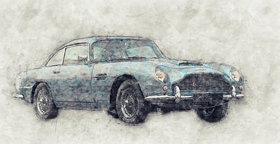 Transportation Mixed Media - Aston Martin DB5  1- Luxury Grand Tourer - Automotive Art - Car Posters by Studio Grafiikka