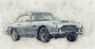 Mixed Media Royalty Free Images - Aston Martin DB5  1- Luxury Grand Tourer - Automotive Art - Car Posters Royalty-Free Image by Studio Grafiikka
