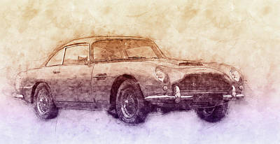 Transportation Mixed Media - Aston Martin DB5 2 - Luxury Grand Tourer - Automotive Art - Car Posters by Studio Grafiikka